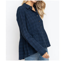 Navy Button Down Top