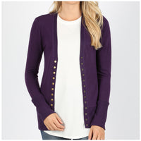 Dark Purple Snap Button Cardigan