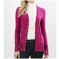 Magenta Snap Button Cardigan