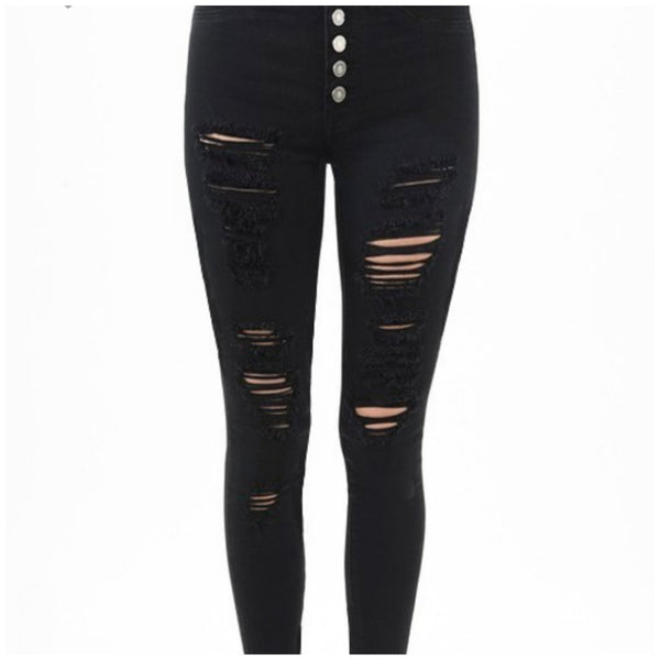 Black Distressed Skinny Jeggings