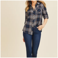 Blue and Rust Plaid Top