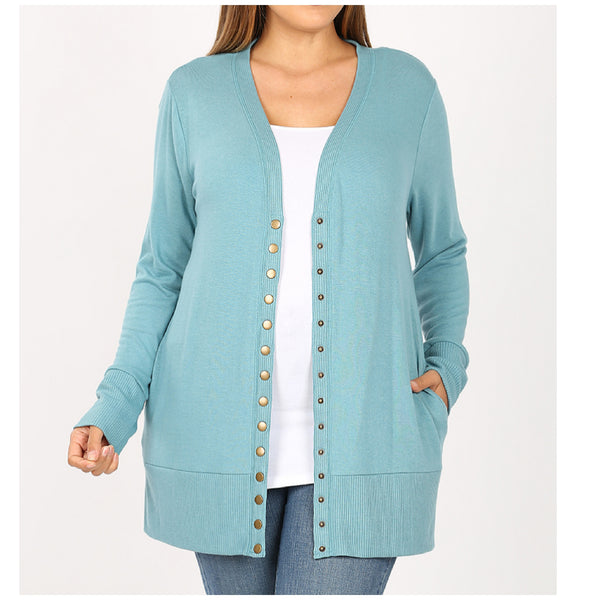 Plus Size Dusty Teal Long Sleeve Button Snap Cardigan with Pockets