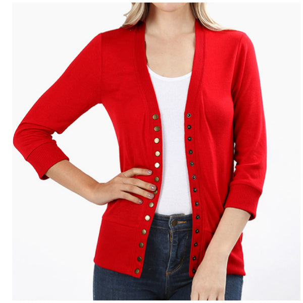 Red 3/4 Sleeve Snap Button Cardigan