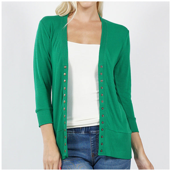 Kelly Green 3/4 Sleeve Snap Button Cardigan