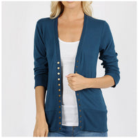 Teal 3/4 Sleeve Snap Button Cardigan