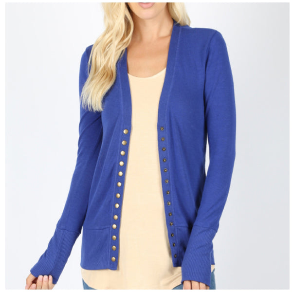 Plus Size Button Snap Cardigan