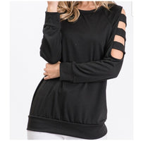 Black Long Sleeve Ladder Top