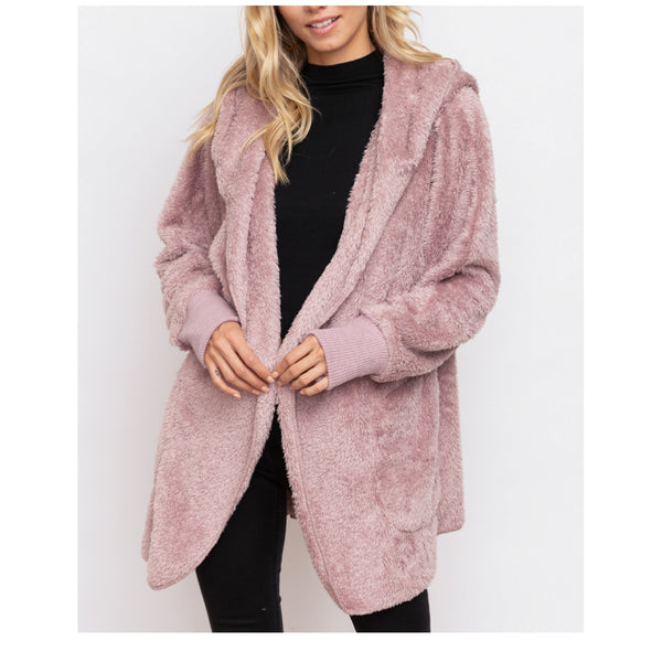 Dusty Lilac Sherpa Hooded Jacket