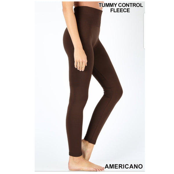 Americano High Waisted Tummy Control Seamless Fleece Leggings