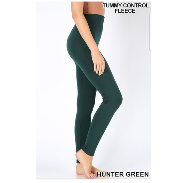 Hunter Green High Waist Tummy Control Seamless Fleece Leggings