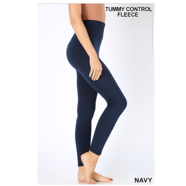 Navy High Waist Tummy Control Fleece Seamless Leggings