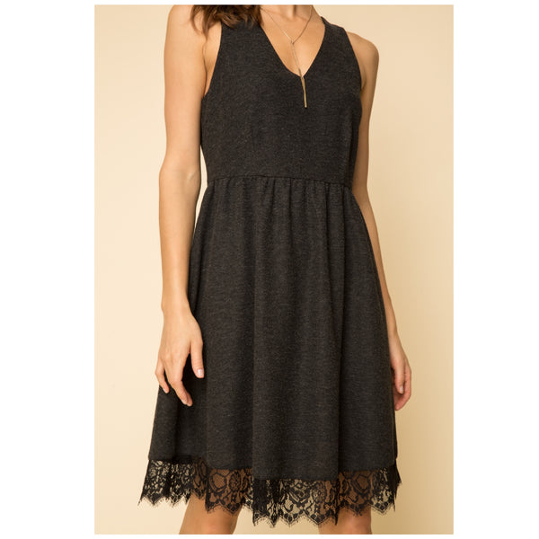 Heather Charcoal Lace Dress