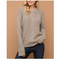 Grey Cable Knit Round Neck Sweater
