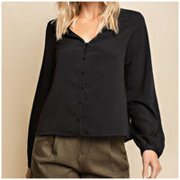 Black Front Button Top