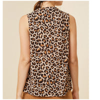 Leopard Print Sleeveless Twist Collar Top