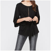Bamboo Black Waist Tied Keyhole Top