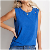 Royal Blue Distressed Top