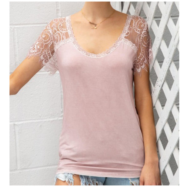 POL Pink Lace Sleeve Top