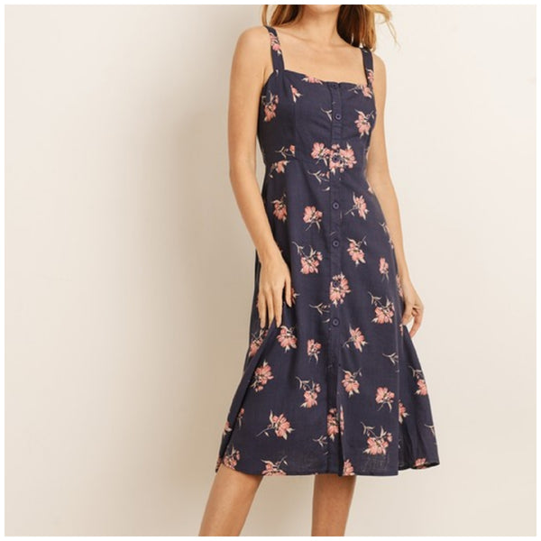 LT. Navy/Red Floral Dress