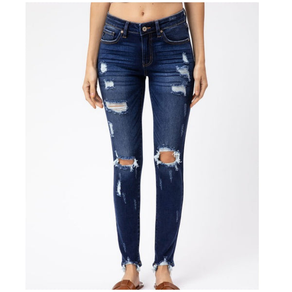 KanCan USA Mid Rise Distressed Super Skinny