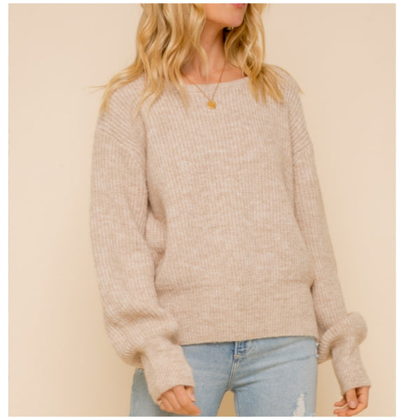 Taupe Lace Up Back Sweater