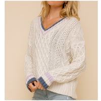 Ivory/Lavendar/Navy Cable Knit Sweater