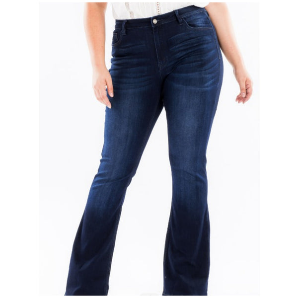 KanCan USA Plus Size Dark Super High Rise Flare Jeans