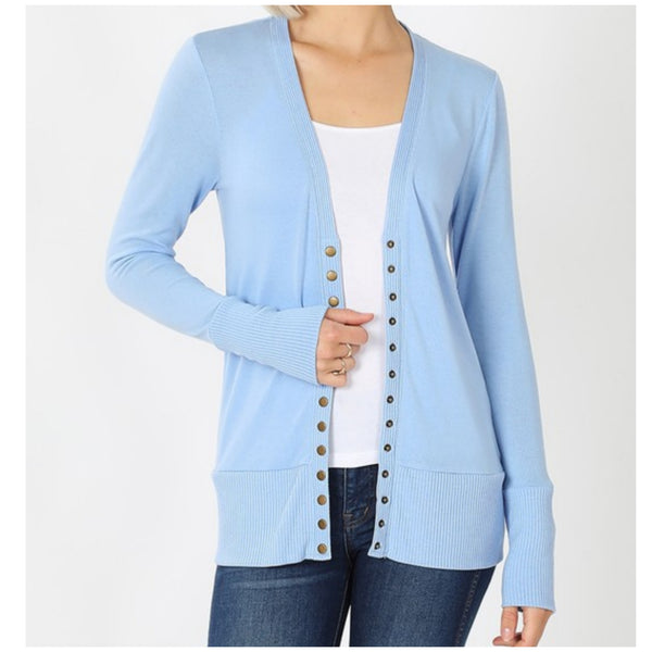 Spring Blue Snap Button Sweater Cardigan
