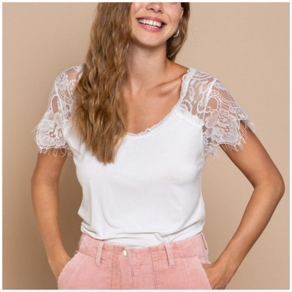 POL Ivory Lace Sleeve Top