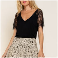 POL Black Lace Sleeve Top