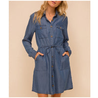 Indigo Blue Button Down Tencel Dress