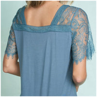 Teal Lace Sleeve Top