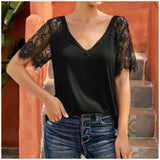 Black Lace V-Neck Sleeve Top