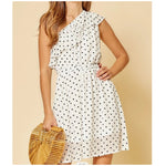 Polka Dot One Shoulder Dress