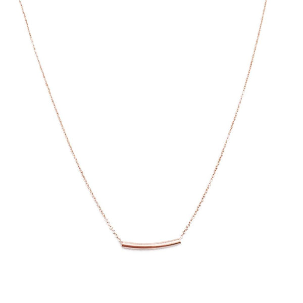 Rose Gold Bend Bar Necklace