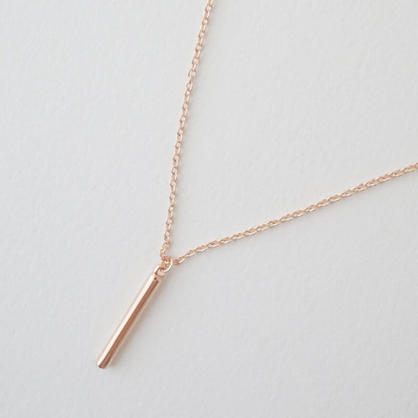 Rose Gold Pipette Bar Necklace