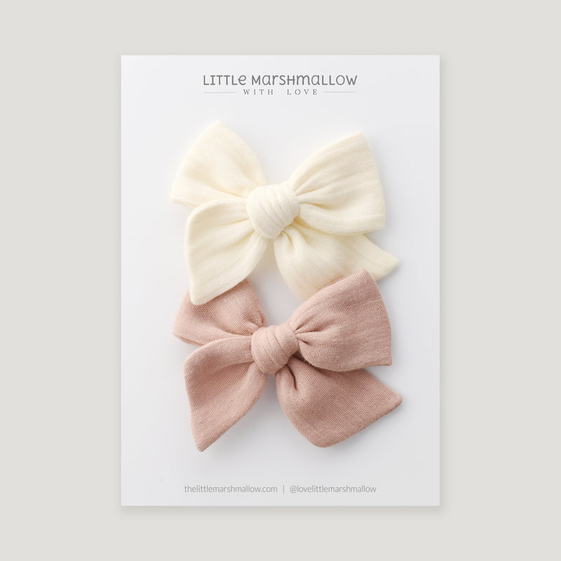 Bow Set // Cream and Cloud Pink
