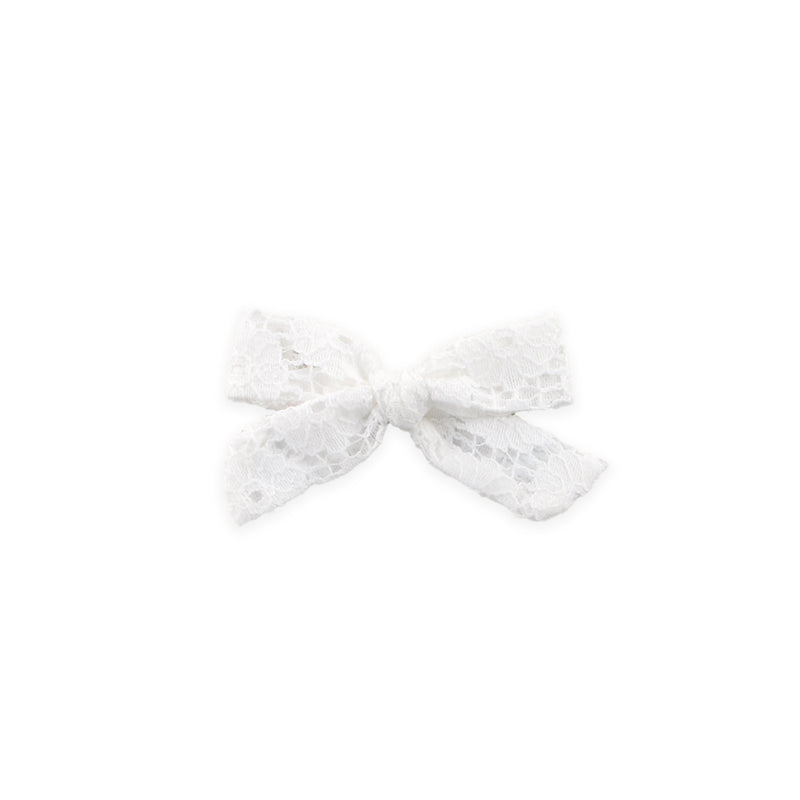 Mini Schoolgirl Bow // Ivory White Lace