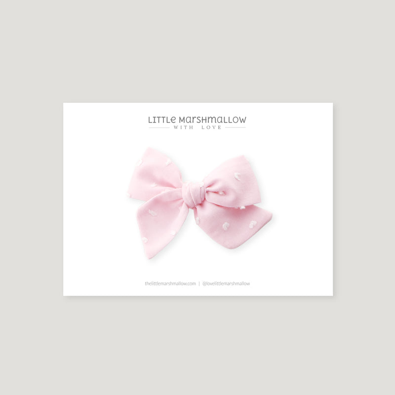 Mini Pinwheel Bow // Pink Swiss Dots