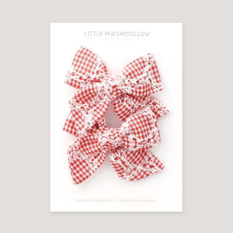 Pigtail Set // Red Gingham Daisy Chain