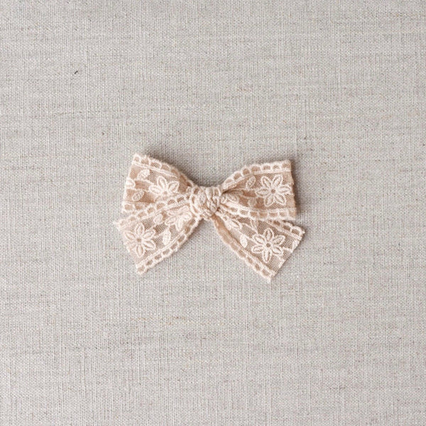 Lace Bow // Sheer Lace - Beige