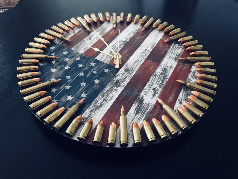 Patriotic Flag & Bullet Clock