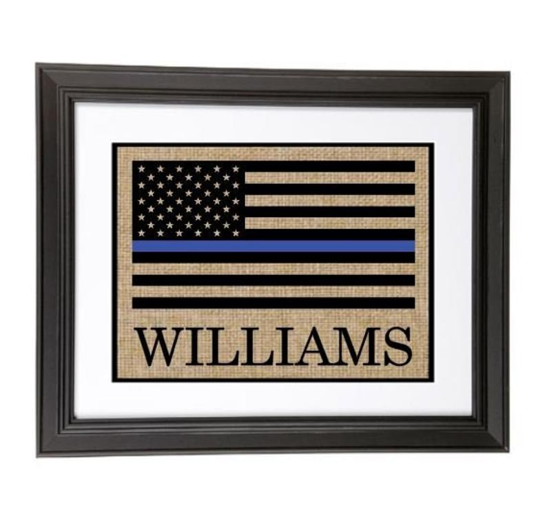 Personalized Thin Blue Line Flag Sign