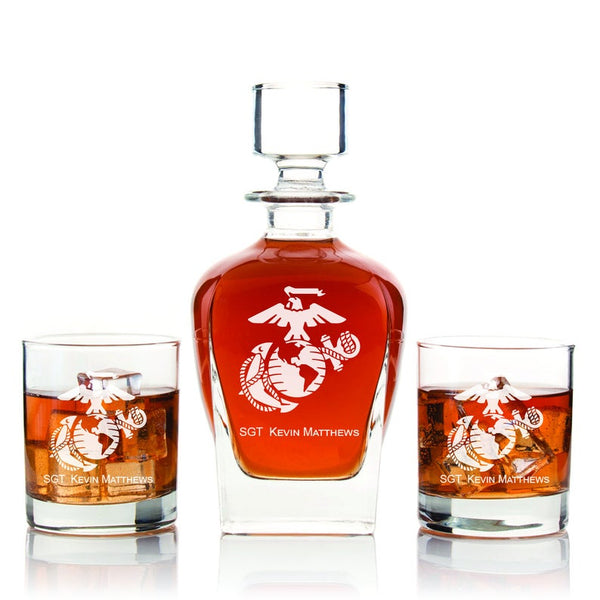 Personalized Marine Corps Decanter with Whiskey Glasses