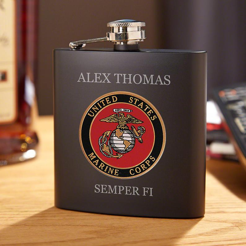 Marine Crest Personalized Blackout Flask