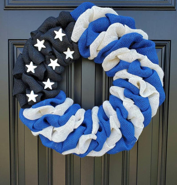 Blue Line Wreath - Back The Blue - Police Lives Matter