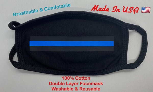 Thin Blue Line Adult Face Mask