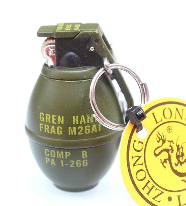 Metal Green Military Army M26A1 Frag Pomegranate Grenades Cigarette Lighter Key Chain