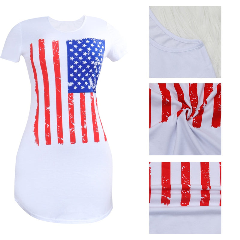 Stars and Stripes White Casual Tee for Her