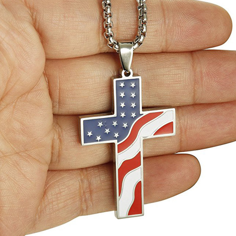 USA Flag Gold Cross Pendant with Necklace